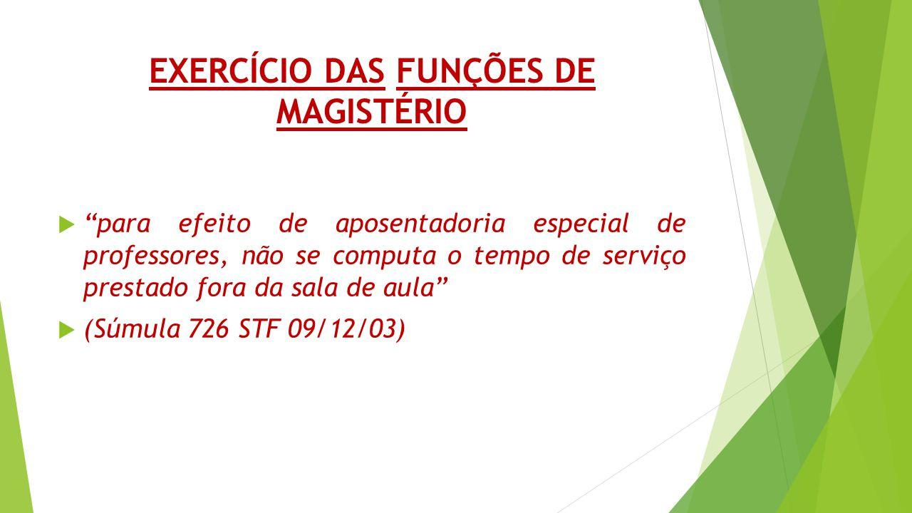 EXERCÍCIO DAS FUNÇÕES DE MAGISTÉRIO