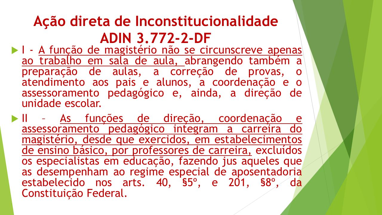 Ação direta de Inconstitucionalidade ADIN 3.772-2-DF