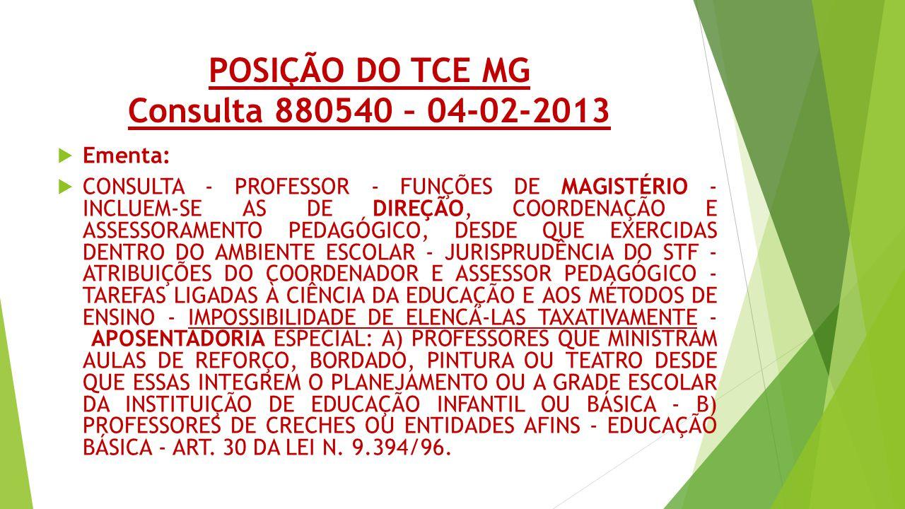 POSIÇÃO DO TCE MG Consulta 880540 – 04-02-2013