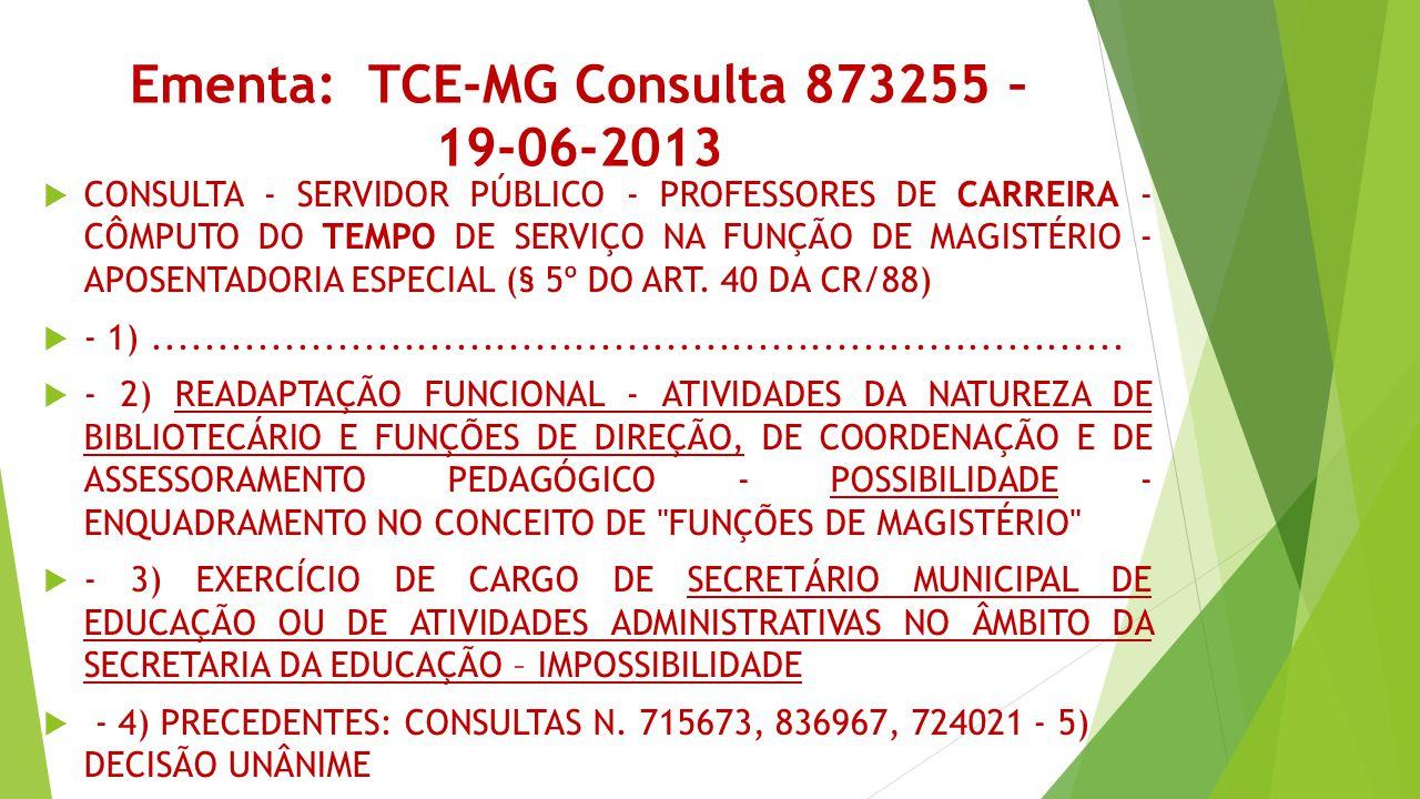 Ementa: TCE-MG Consulta 873255 – 19-06-2013