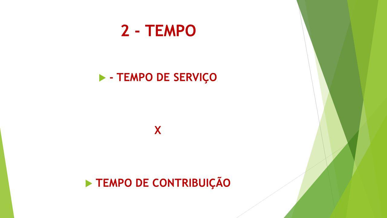 2 - TEMPO - TEMPO DE SERVIÇO X TEMPO DE CONTRIBUIÇÃO