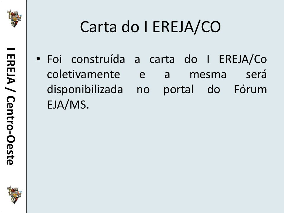 Carta do I EREJA/CO I EREJA / Centro-Oeste