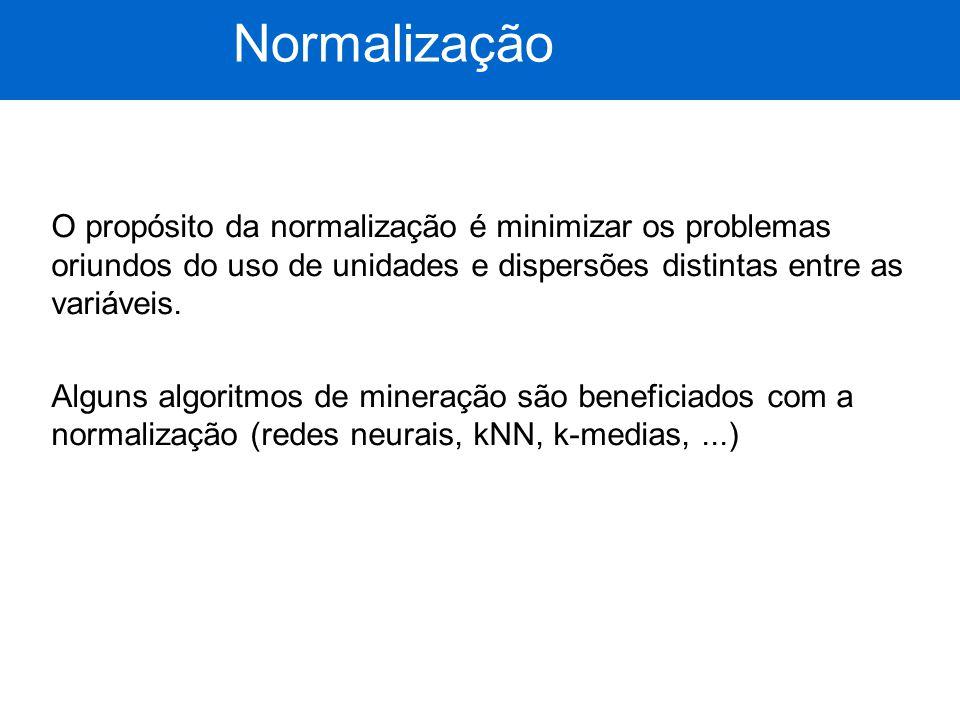 Normalização O propósito da normalização é minimizar os problemas oriundos do uso de unidades e dispersões distintas entre as variáveis.