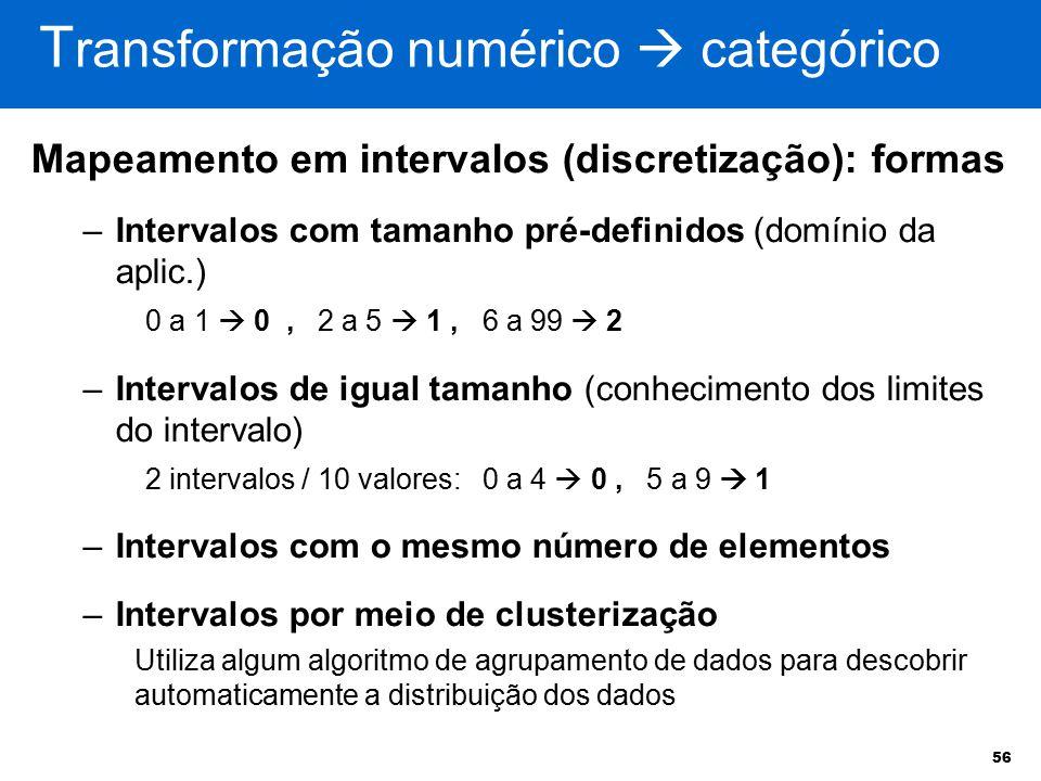 Transformação numérico  categórico