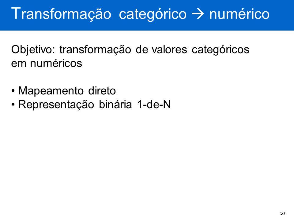 Transformação categórico  numérico