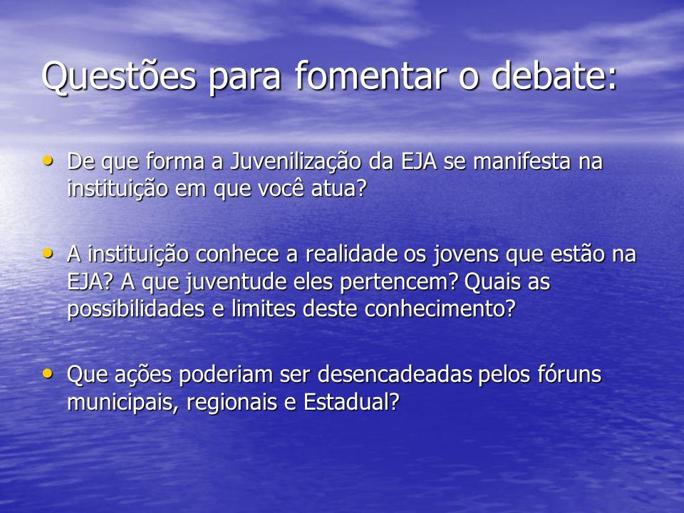 Questões para fomentar o debate: