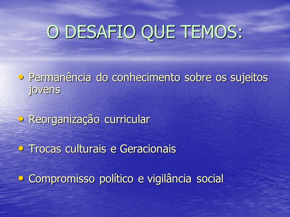 O DESAFIO QUE TEMOS: Permanência do conhecimento sobre os sujeitos jovens. Reorganização curricular.