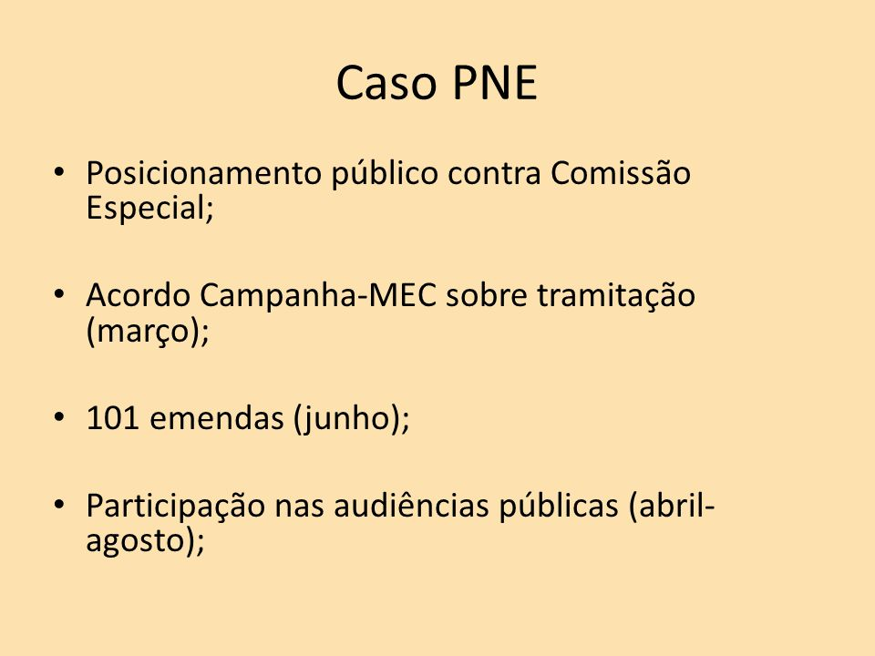 Caso PNE Posicionamento público contra Comissão Especial;