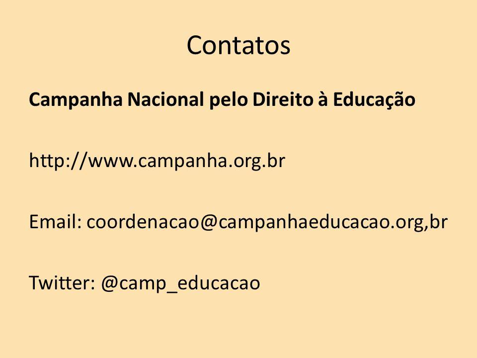 Contatos Campanha Nacional pelo Direito à Educação http://www.campanha.org.br Email: coordenacao@campanhaeducacao.org,br Twitter: @camp_educacao