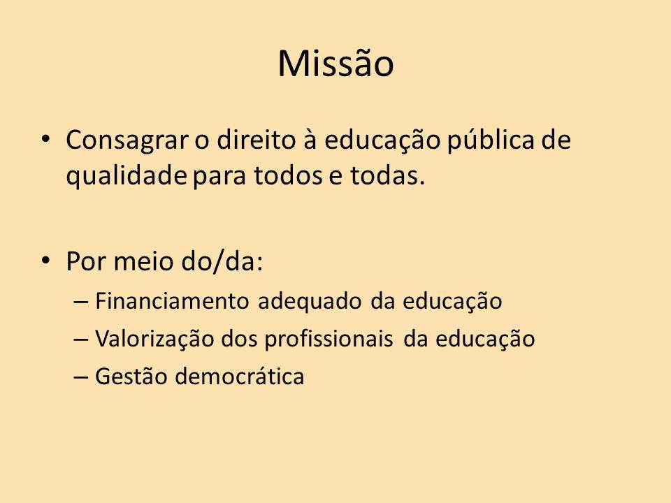 Missão Consagrar o direito à educação pública de qualidade para todos e todas. Por meio do/da: Financiamento adequado da educação.