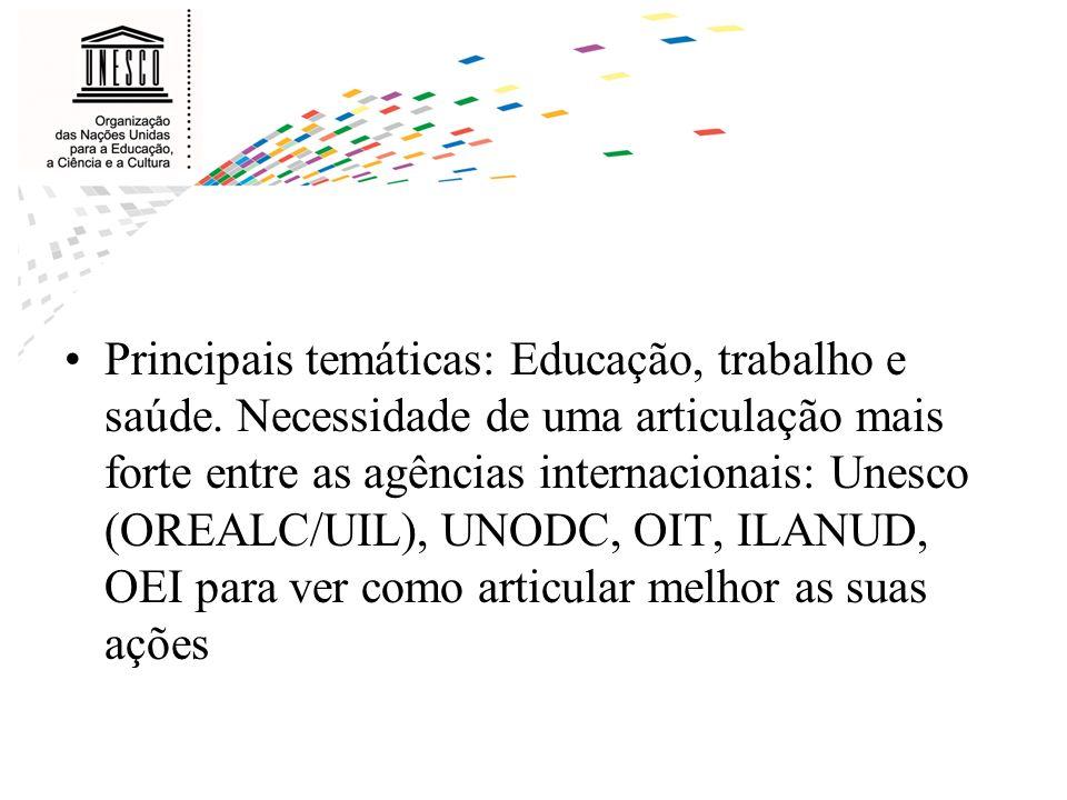 Principais temáticas: Educação, trabalho e saúde