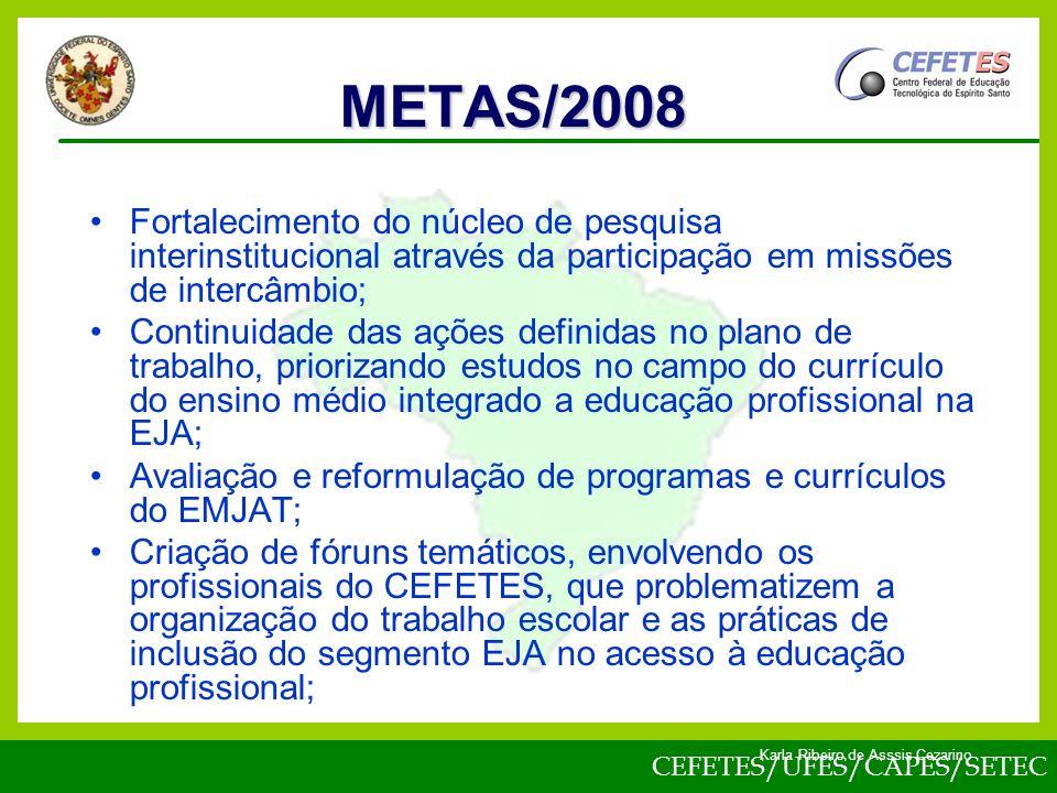 METAS/2008 Fortalecimento do núcleo de pesquisa interinstitucional através da participação em missões de intercâmbio;