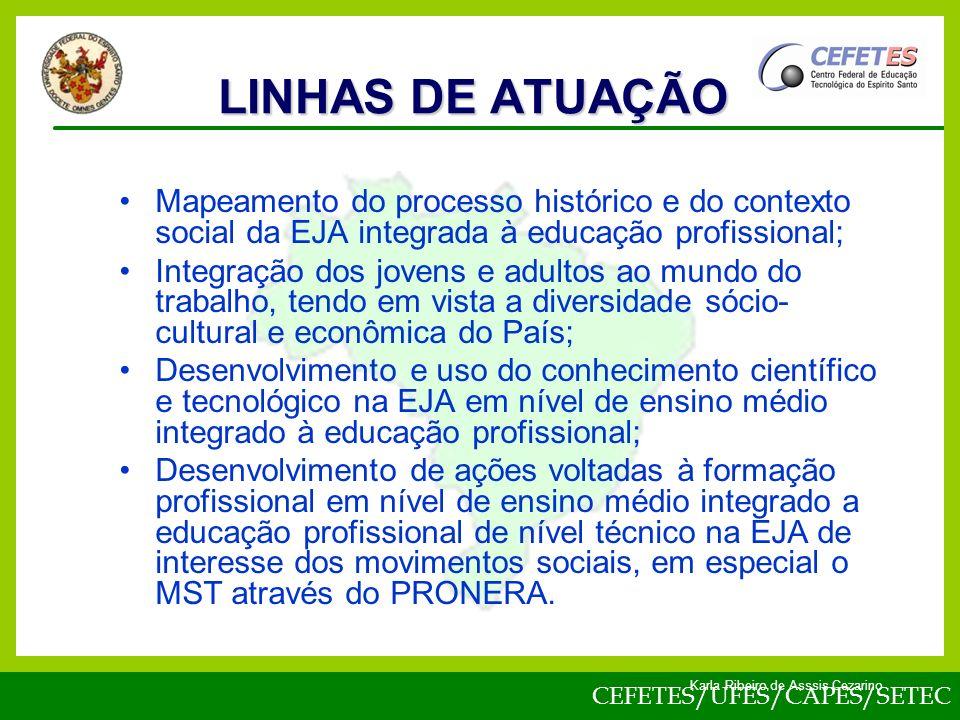 LINHAS DE ATUAÇÃO Mapeamento do processo histórico e do contexto social da EJA integrada à educação profissional;