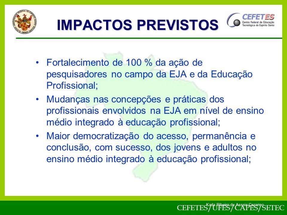 IMPACTOS PREVISTOS Fortalecimento de 100 % da ação de pesquisadores no campo da EJA e da Educação Profissional;