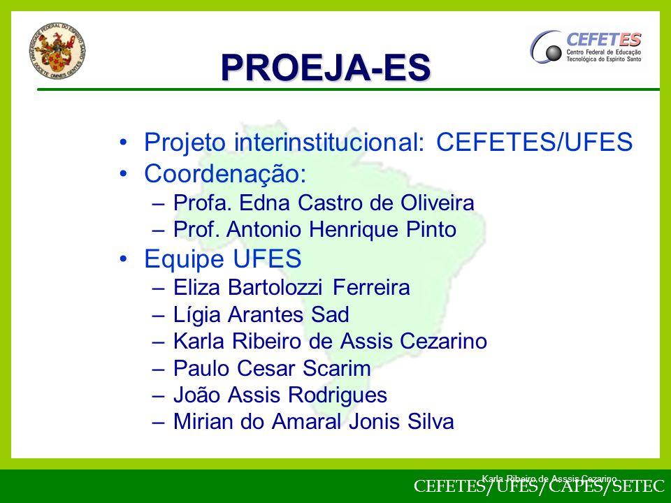PROEJA-ES Projeto interinstitucional: CEFETES/UFES Coordenação: