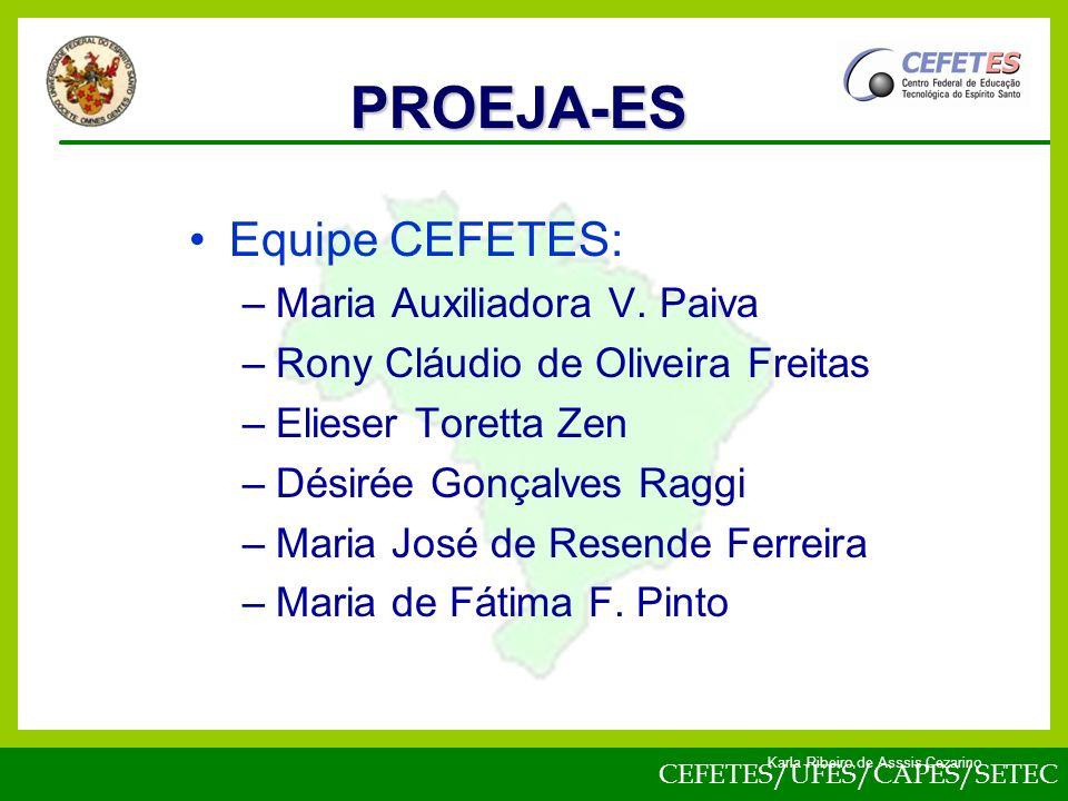 PROEJA-ES Equipe CEFETES: Maria Auxiliadora V. Paiva