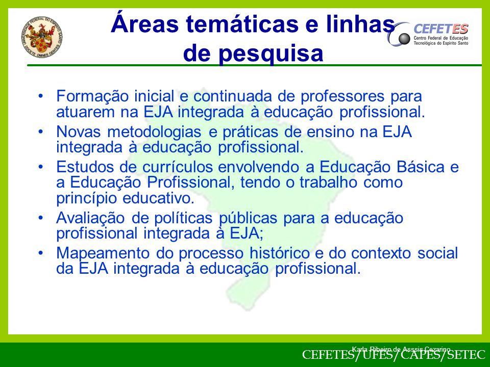 Áreas temáticas e linhas de pesquisa
