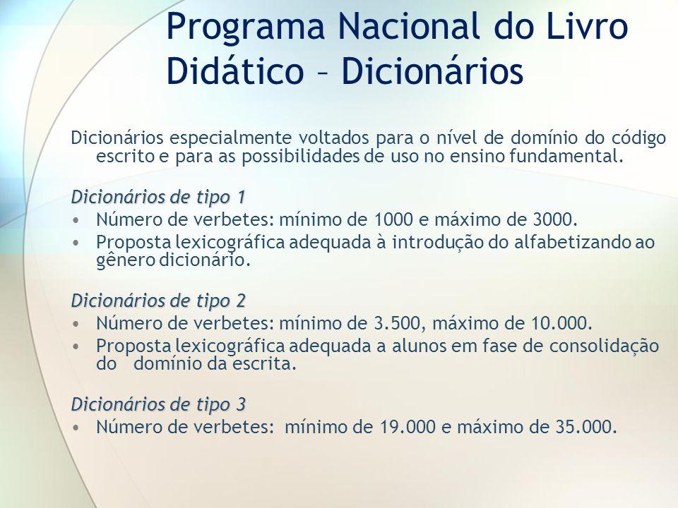 Programa Nacional do Livro Didático – Dicionários
