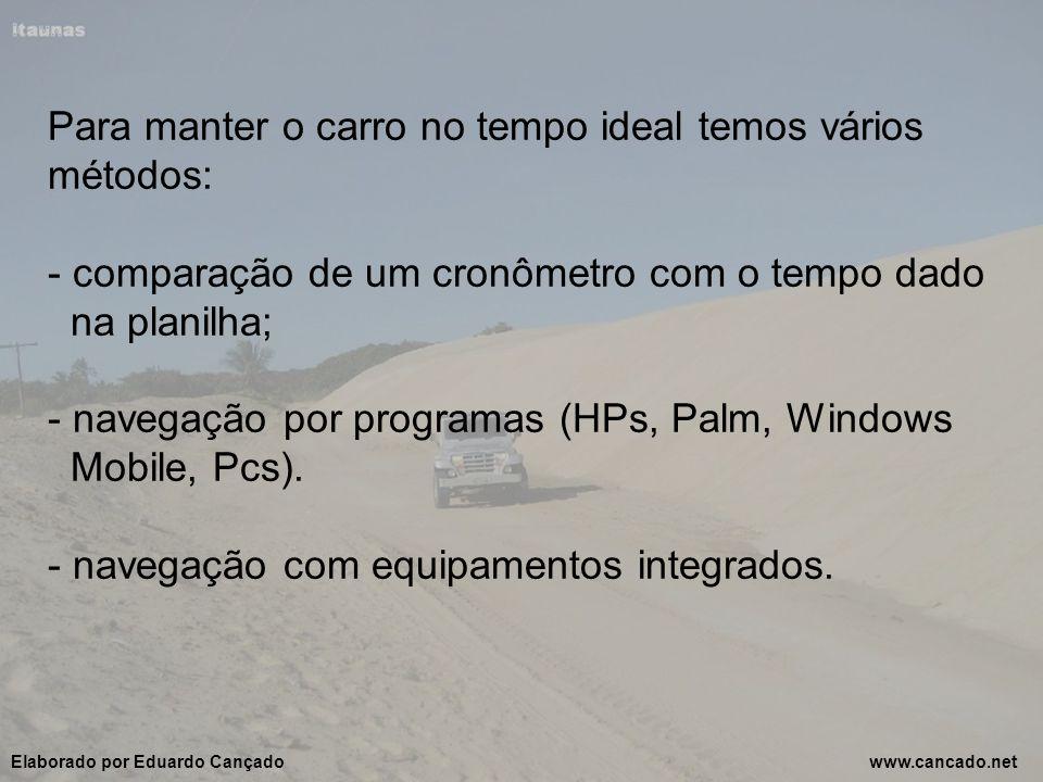 Para manter o carro no tempo ideal temos vários métodos: