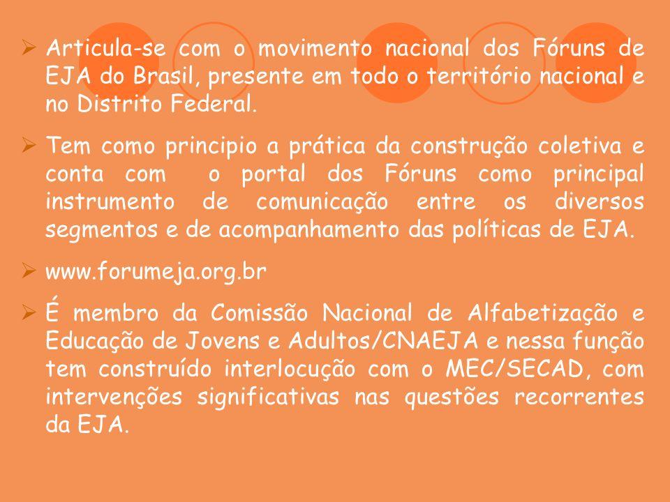 Articula-se com o movimento nacional dos Fóruns de EJA do Brasil, presente em todo o território nacional e no Distrito Federal.