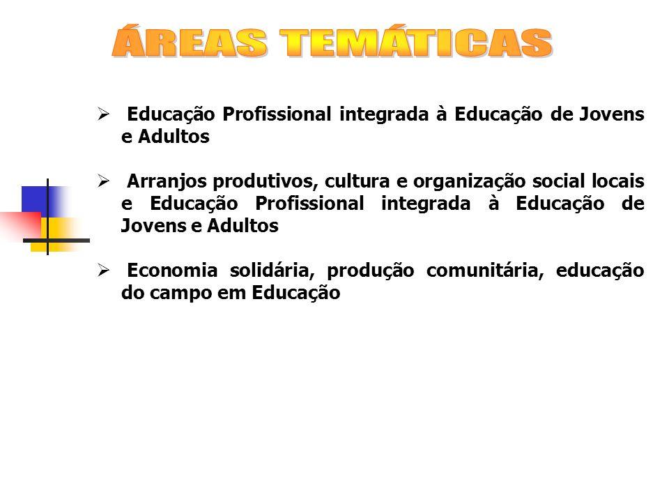 ÁREAS TEMÁTICAS Educação Profissional integrada à Educação de Jovens e Adultos.
