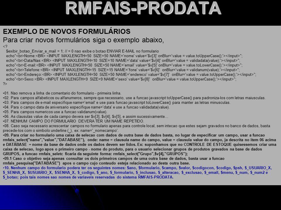RMFAIS-PRODATA EXEMPLO DE NOVOS FORMULÁRIOS