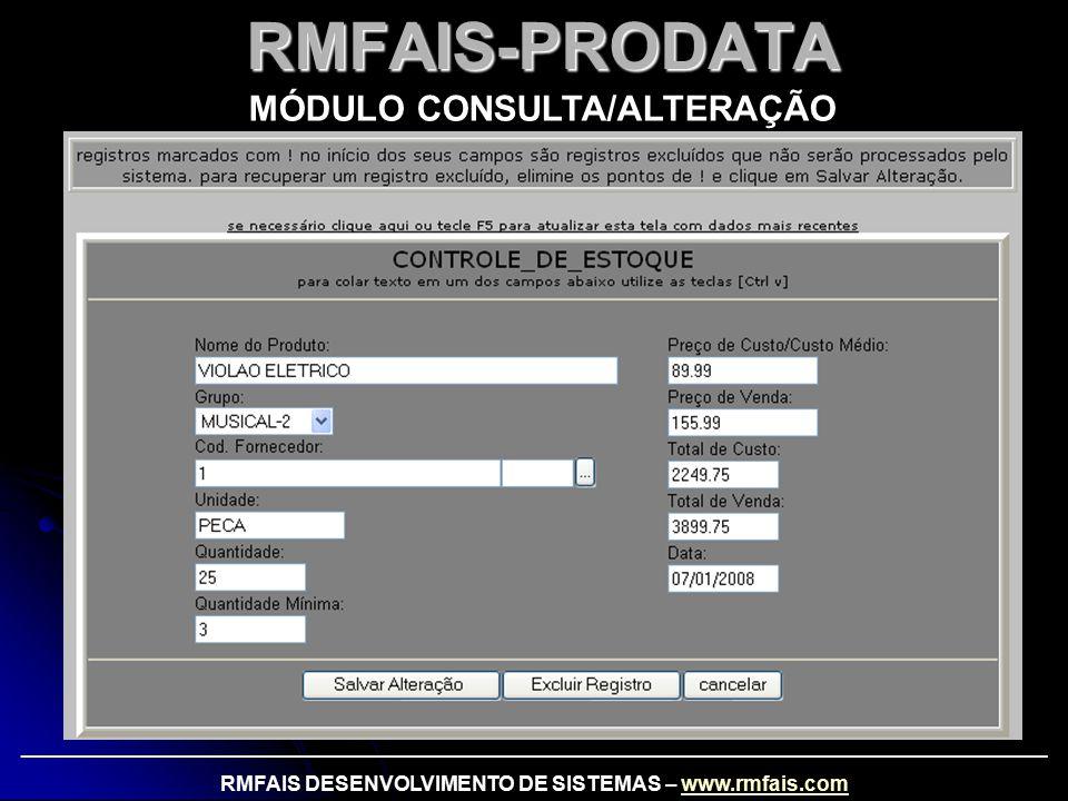 RMFAIS-PRODATA MÓDULO CONSULTA/ALTERAÇÃO