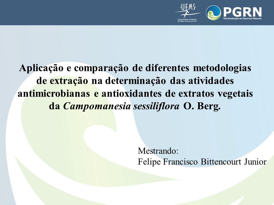 Aplicação e comparação de diferentes metodologias de extração na determinação das atividades antimicrobianas e antioxidantes de extratos vegetais da Campomanesia sessiliflora O. Berg.