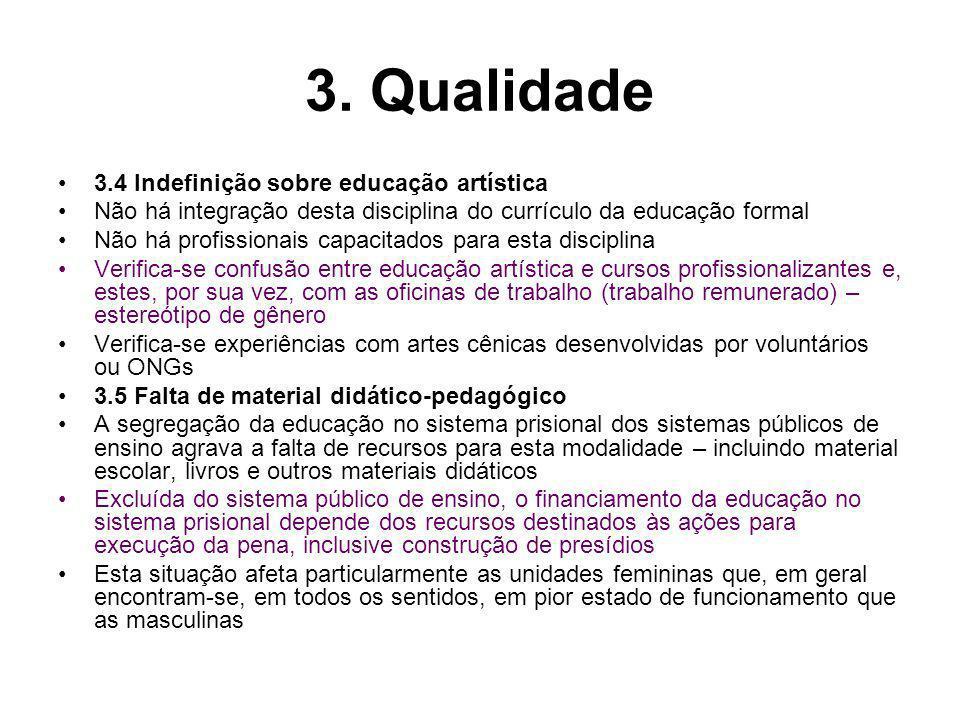 3. Qualidade 3.4 Indefinição sobre educação artística