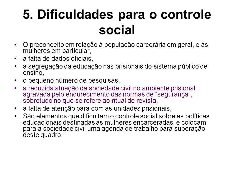 5. Dificuldades para o controle social