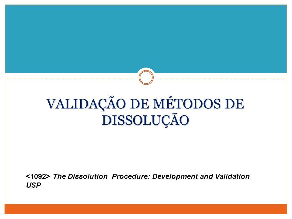 VALIDAÇÃO DE MÉTODOS DE DISSOLUÇÃO