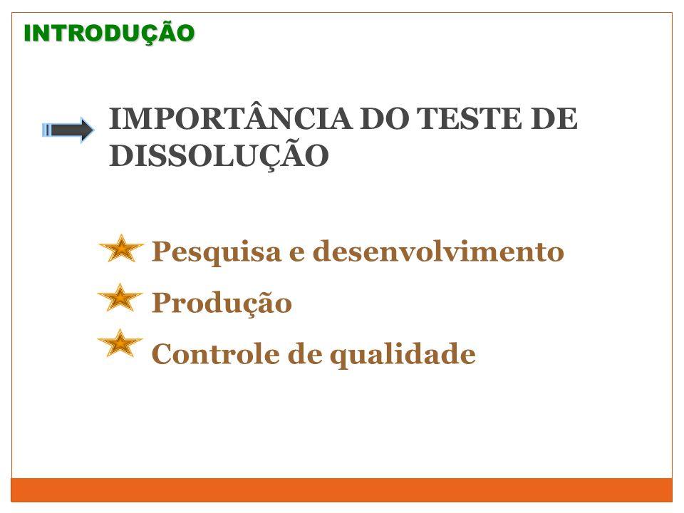 IMPORTÂNCIA DO TESTE DE DISSOLUÇÃO