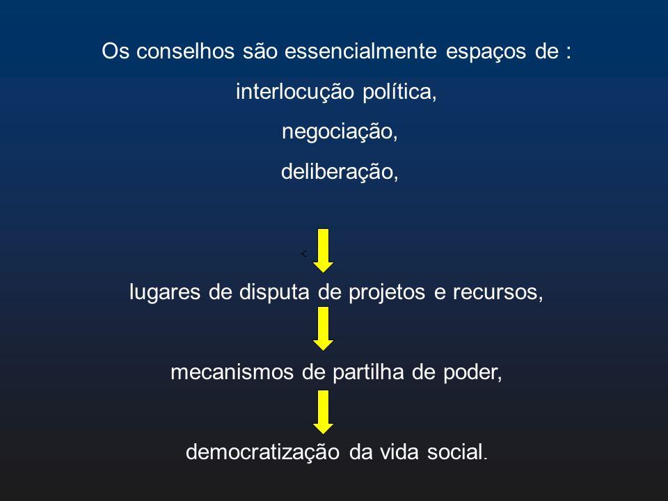 Os conselhos são essencialmente espaços de : interlocução política,