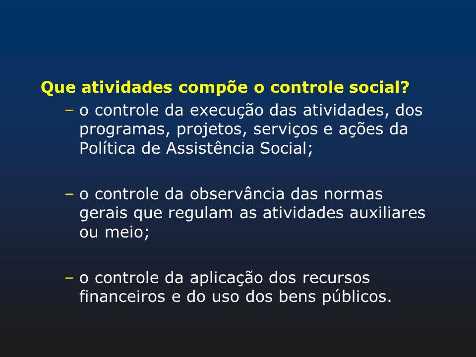 Que atividades compõe o controle social