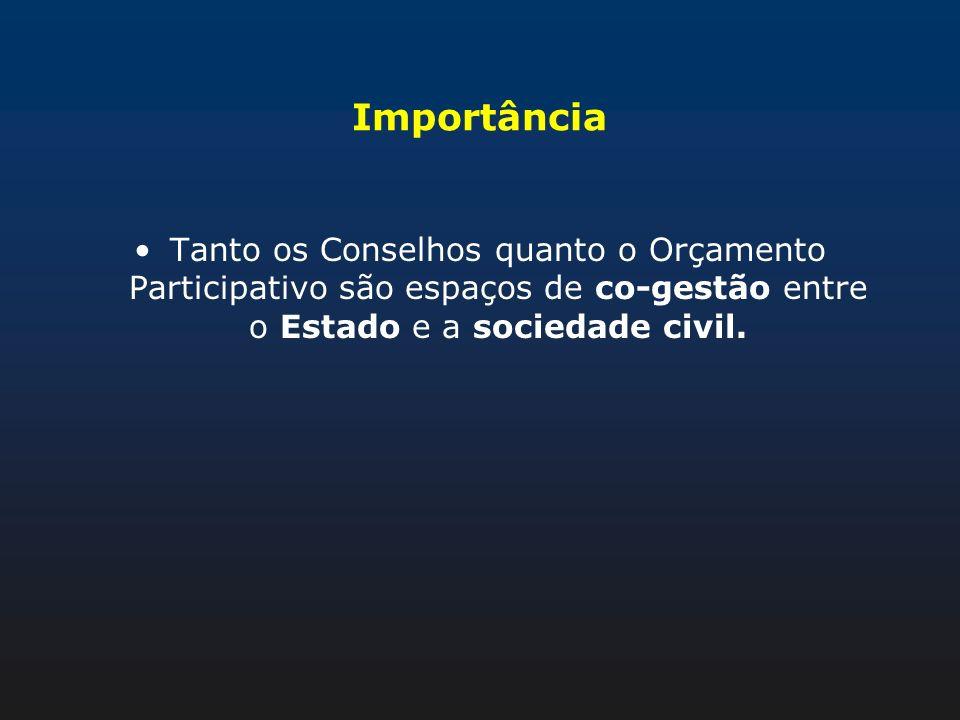 Importância Tanto os Conselhos quanto o Orçamento Participativo são espaços de co-gestão entre o Estado e a sociedade civil.