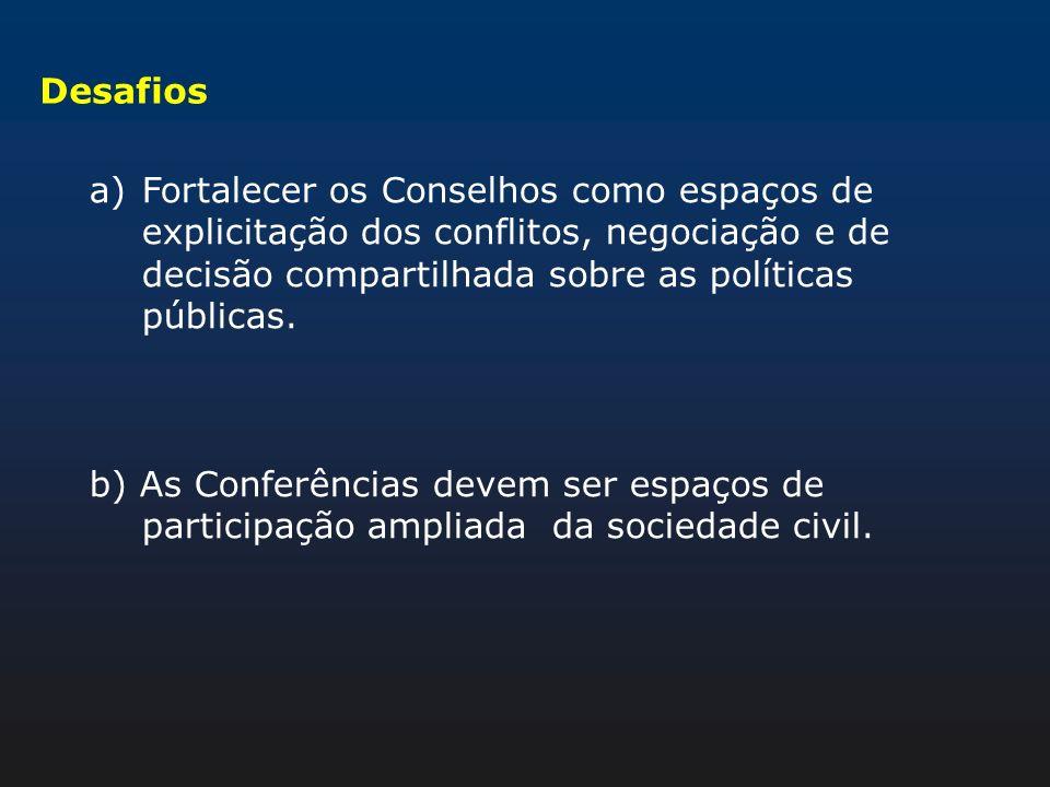 DesafiosFortalecer os Conselhos como espaços de explicitação dos conflitos, negociação e de decisão compartilhada sobre as políticas públicas.
