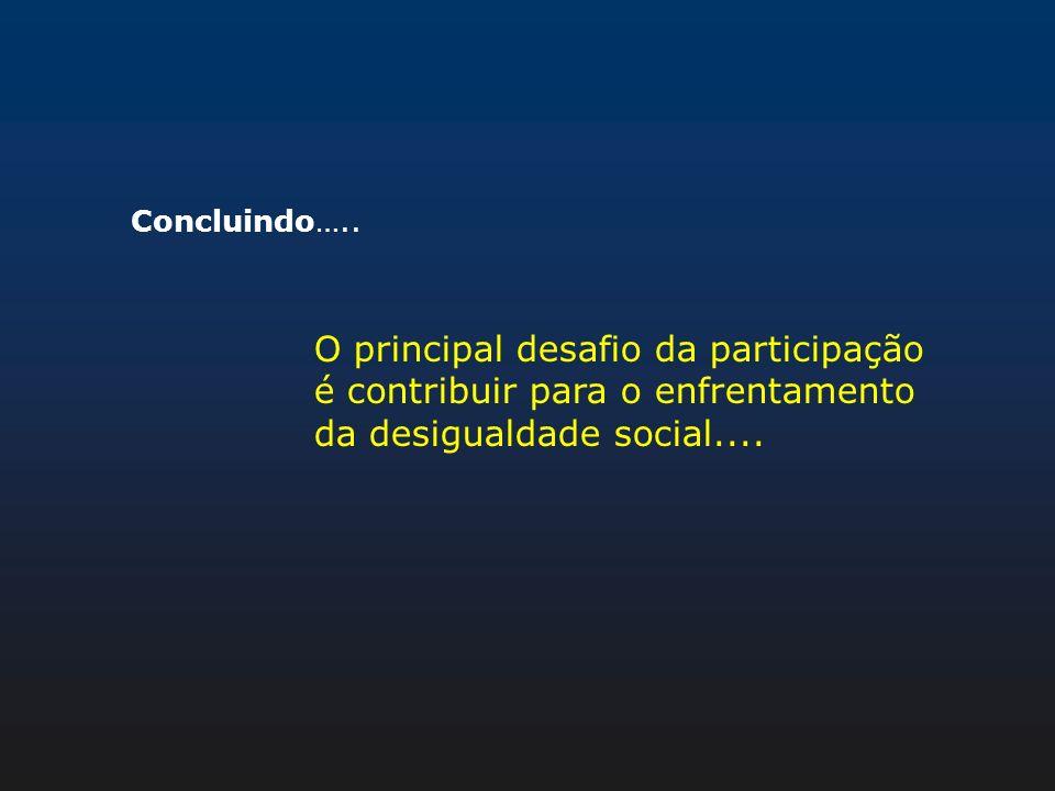 Concluindo…..O principal desafio da participação é contribuir para o enfrentamento da desigualdade social....