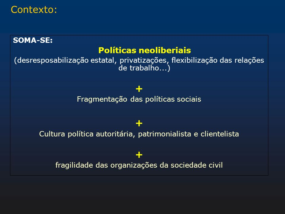 Contexto: + SOMA-SE: Políticas neoliberiais