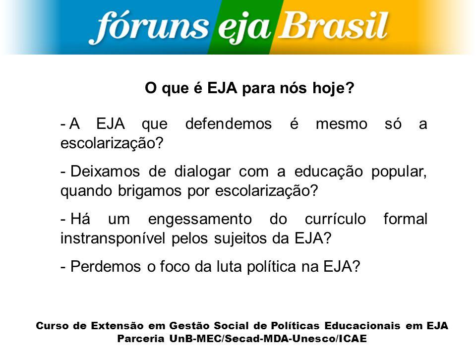 O que é EJA para nós hoje A EJA que defendemos é mesmo só a escolarização