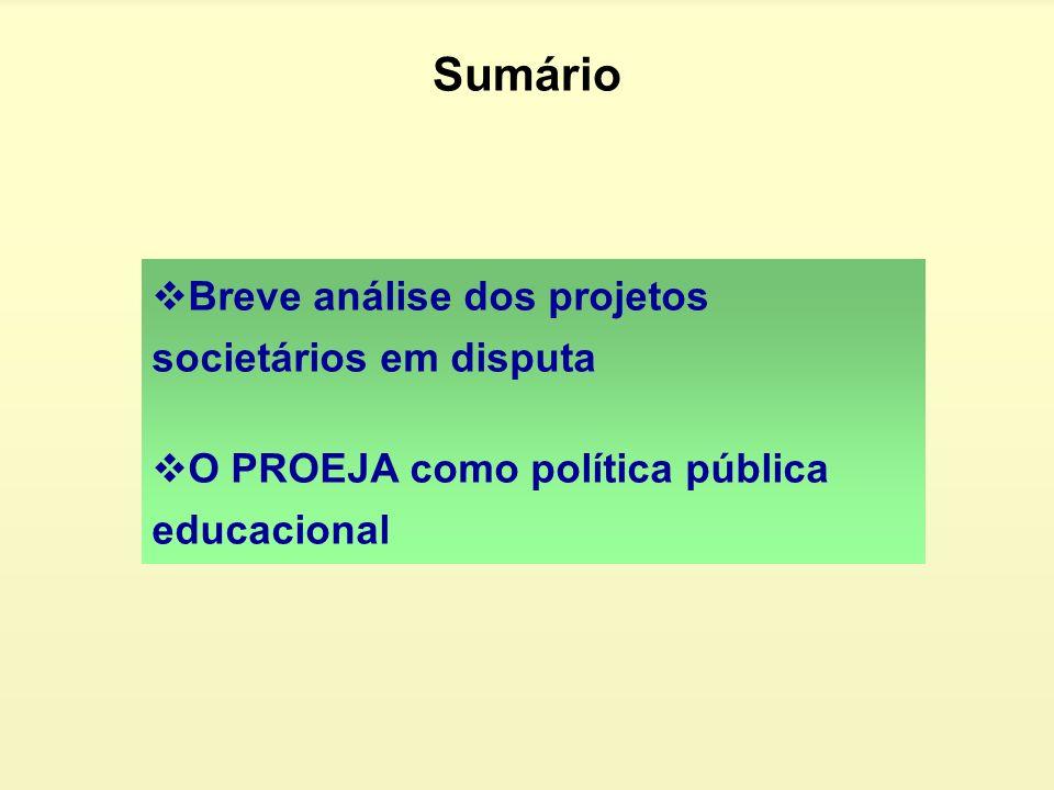 Sumário Breve análise dos projetos societários em disputa
