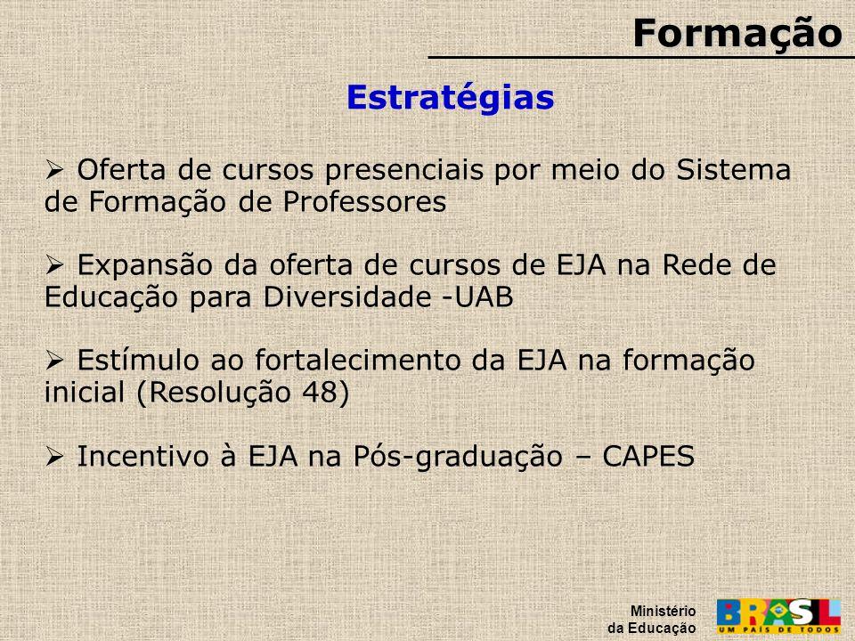 Formação Ministério da Educação. Estratégias. Oferta de cursos presenciais por meio do Sistema de Formação de Professores.