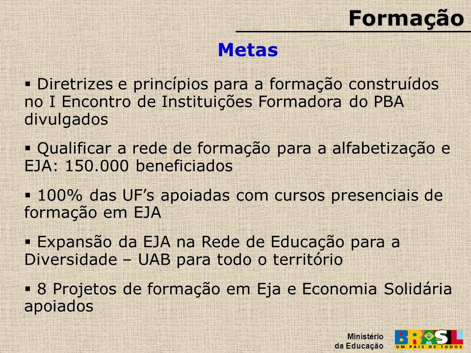 Formação Ministério da Educação. Metas.