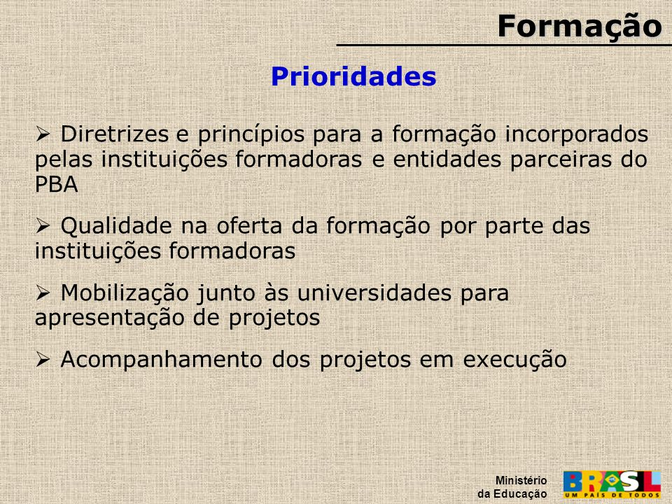 Formação Ministério da Educação. Prioridades.