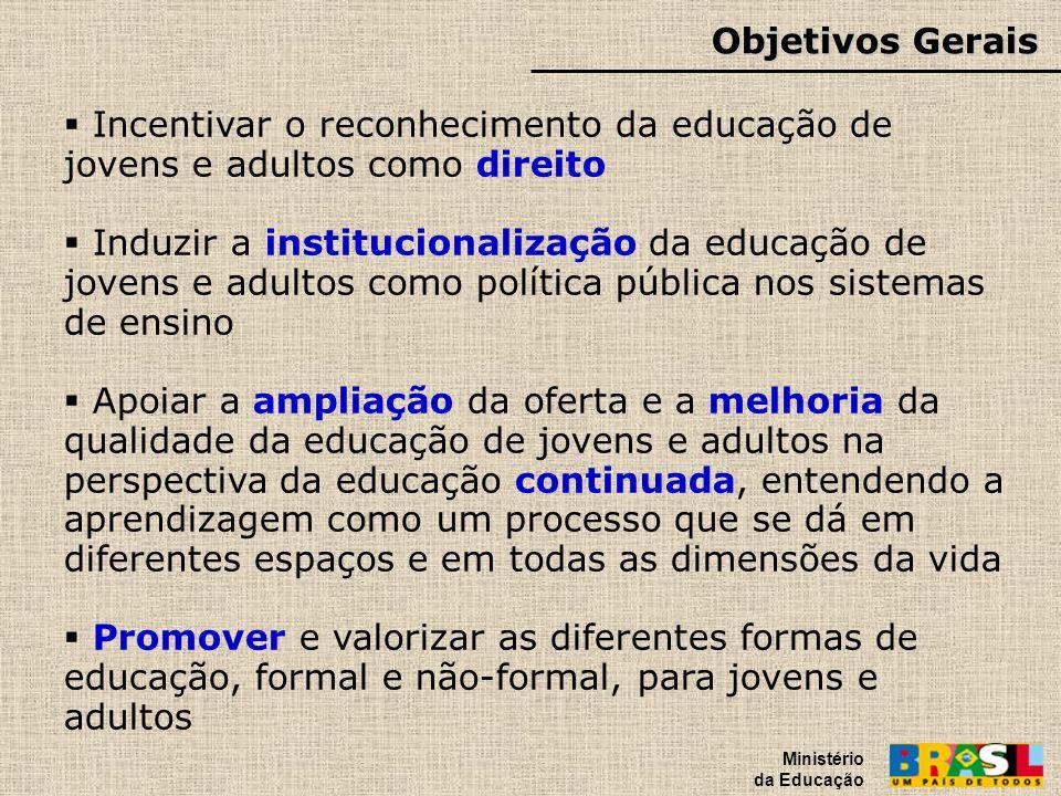 Objetivos Gerais Ministério da Educação. Incentivar o reconhecimento da educação de jovens e adultos como direito.