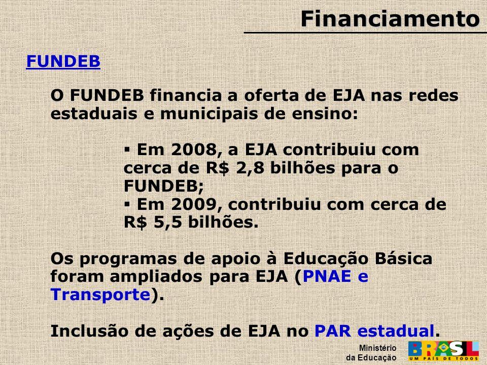 Financiamento Ministério da Educação. FUNDEB. O FUNDEB financia a oferta de EJA nas redes estaduais e municipais de ensino: