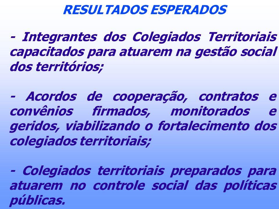 RESULTADOS ESPERADOS- Integrantes dos Colegiados Territoriais capacitados para atuarem na gestão social dos territórios;