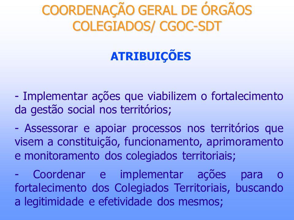 COORDENAÇÃO GERAL DE ÓRGÃOS COLEGIADOS/ CGOC-SDT