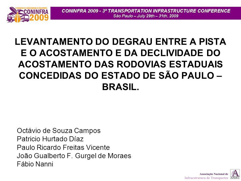 LEVANTAMENTO DO DEGRAU ENTRE A PISTA E O ACOSTAMENTO E DA DECLIVIDADE DO ACOSTAMENTO DAS RODOVIAS ESTADUAIS CONCEDIDAS DO ESTADO DE SÃO PAULO – BRASIL.