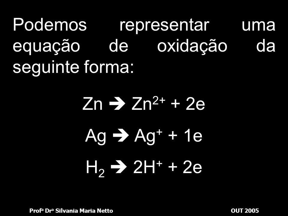 Podemos representar uma equação de oxidação da seguinte forma: