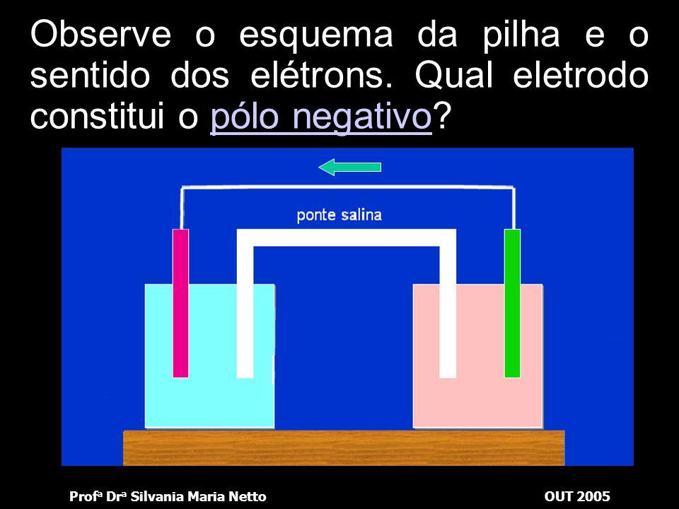 Observe o esquema da pilha e o sentido dos elétrons